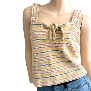 Madewell Texture & Thred yellow striped tie top- S